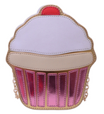 Cupcake Graphic Purse in White, Gold and Metallic Pink with Gold Chain Strap