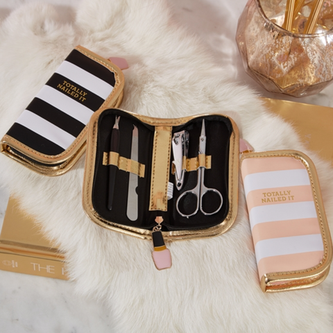 Nailed It Manicure Set in Pink or Black Stripes with Gold Trim