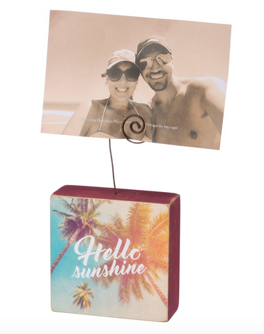 Hello Sunshine Tropical Wooden Photo Block