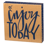 Enjoy Today Block Sign Magnet in Natural Wood and Navy Blue