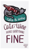 Cats and Wine Make Everything Fine No-Sew Adhesive Patch