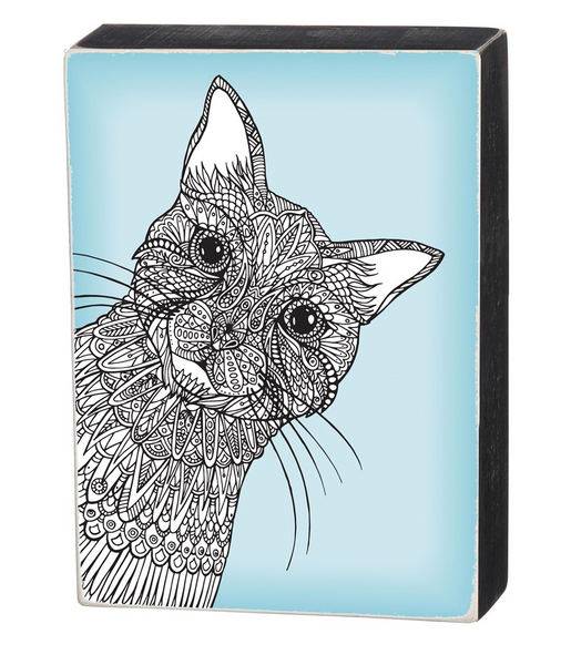 Cat Color It Yourself Block Sign, Coloring Project For Adults, Decorative Wall Art for Living Room/Bedroom/Dining Room