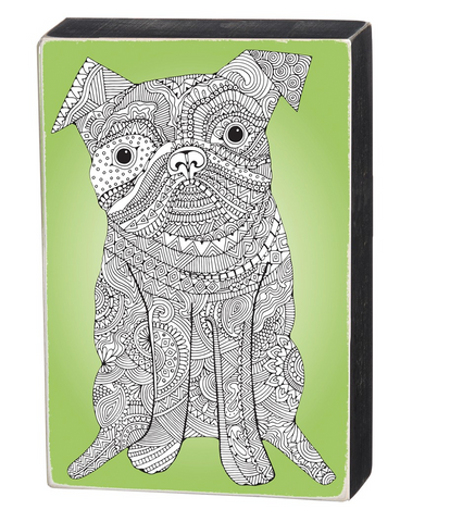 Color It Yourself Dog Box Sign in Green and Wood