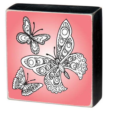 Color it Yourself Mini Butterfly Box Sign with Blush Background