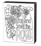 Mini Stop and Smell the Rose Color It Yourself Block Sign, Coloring Project For Adults, Decorative Wall Art for Living Room/Bedroom/Dining Room