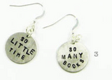 So Many Books, So Little Time Earrings in Silver