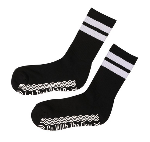 Go With The Flow/ Let That Sh*t Go Black Mid-Calf High Socks