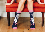 "Bad Astronaut Socks in Pink and Black | Space Design | Extra Padding | ""Bad Astronaut"" on Bottoms"