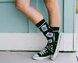 "Mix Tape Crew Socks in Black | Cassette Design | Extra Padding | ""MIX TAPE"" on Bottoms"