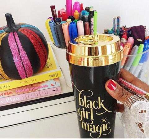Black Girl Magic Travel Mug in Black and Gold