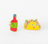 Taco and Hot Sauce Mismatched Stud Earrings | Cloisonné with 22 Karat Gold | In a Glass Gift Vial