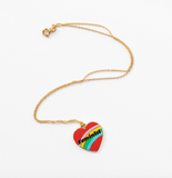 Feminist Heart Necklace in Rainbow with Gold Chain