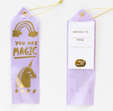 You Are Magic Award Ribbon in Purple with a Magical Unicorn