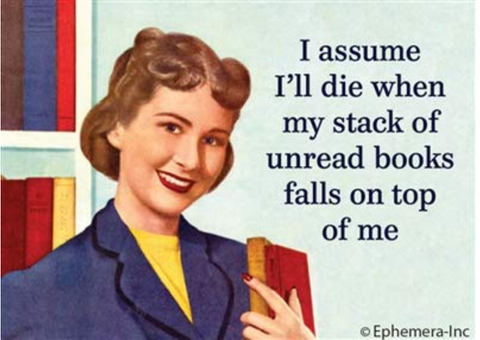 I Assume I'll Die When My Stack of Unread Books Falls On Top Of Me Fridge Magnet