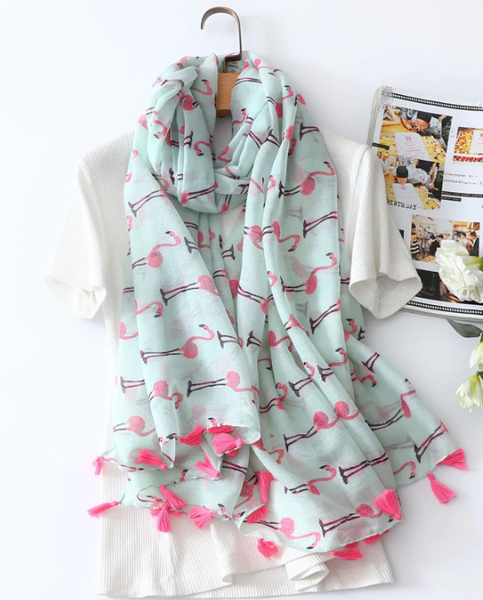 Flamingo Tassel Lightweight Scarf in Mint and Hot Pink