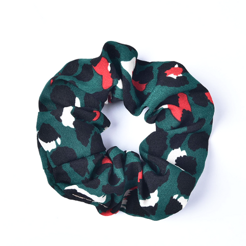 Green Leopard Hair Scrunchie