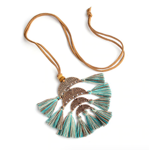 Boho Tassel Queen Pendant Necklace (2 Color Options)