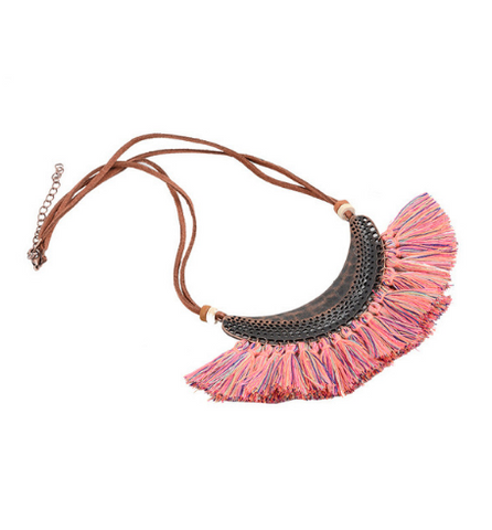 Tassel Bib-Style Statement Necklace (2 Color Options)