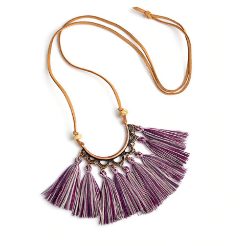 Bohemian Tassel Necklace in Multi Purple