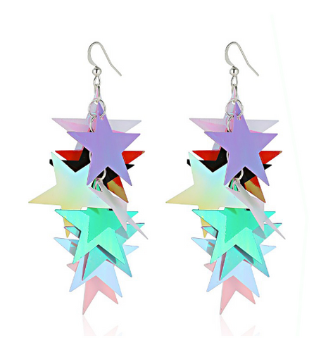 Multi-Layer Iridescent Star Drop Earrings in Rainbow Colors