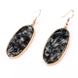Marbled Abalone Dangle Earrings in Black and Gold