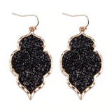 Black Textural Crystal Pavé Earrings