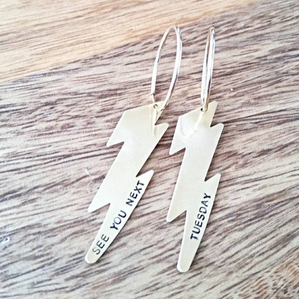 See You Next Tuesday Lightning Bolt Hoop Earrings