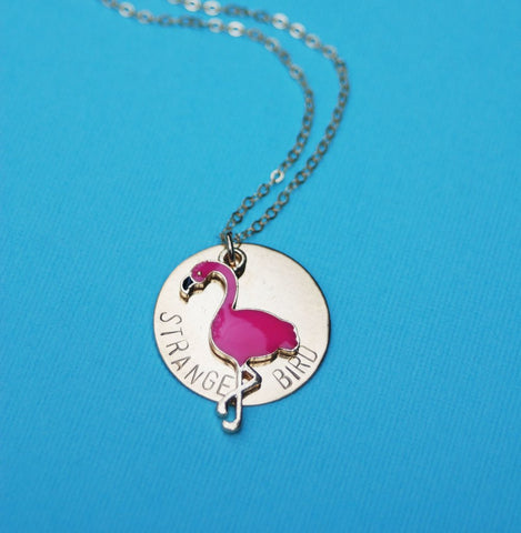 Strange Bird Stamped Flamingo Necklace in Brass or Silver