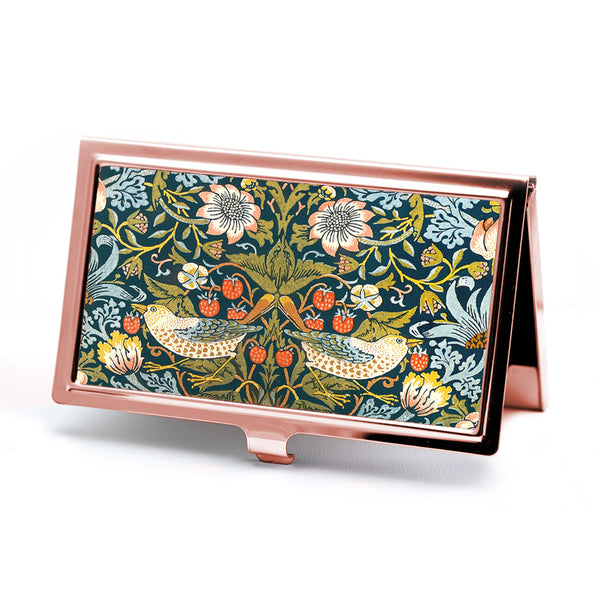 Strawberry Thief Business Card Case in Rose Gold