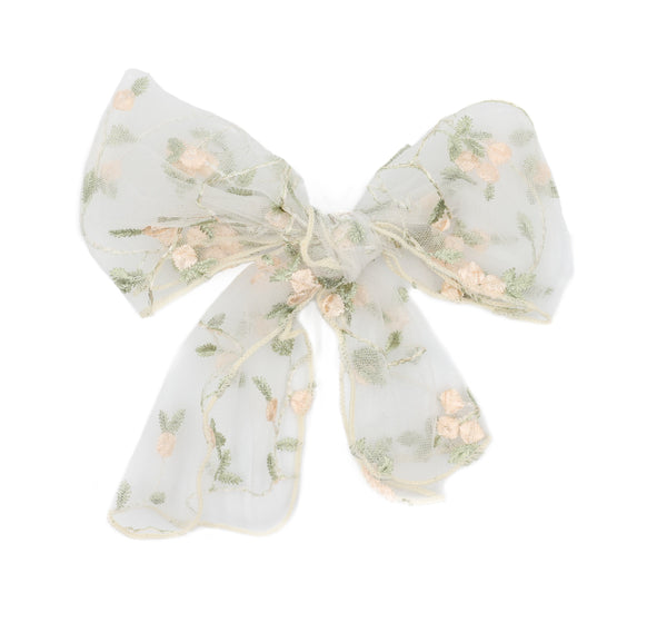 Sweet Prairie Hair Bow with Clip in Antique White