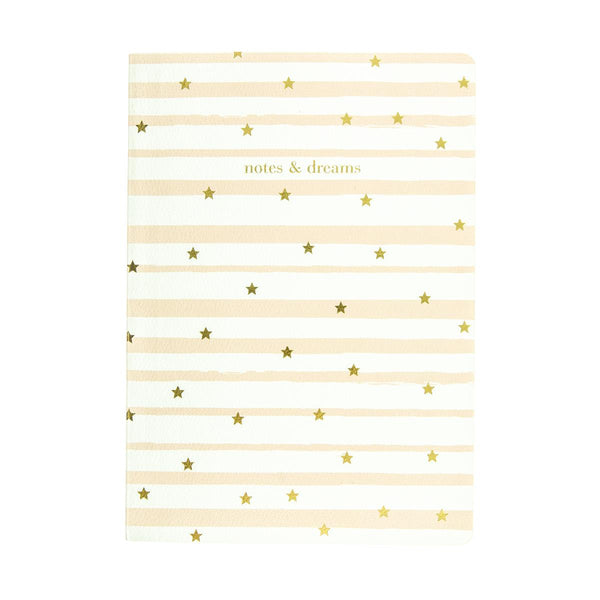 Notes and Dreams Magical Stars Luxe Journal in Gold and Stripes