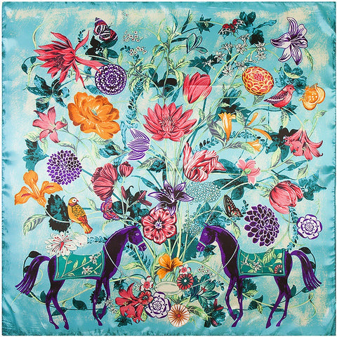 Fantastic Beasts Floral Faux Silk Scarf in Turquoise Blue