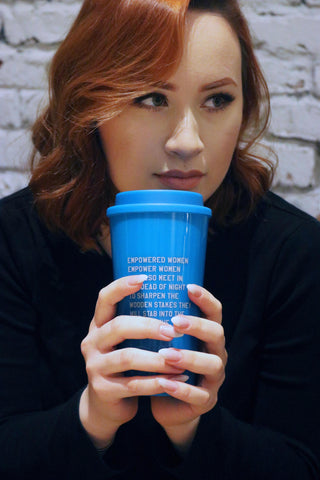 Empowered Women Empower Women And Also Meet in the Dead of Night to Sharpen Wooden Stakes They Will Stab into the Heart of the Patriarchy Travel Mug in Teal
