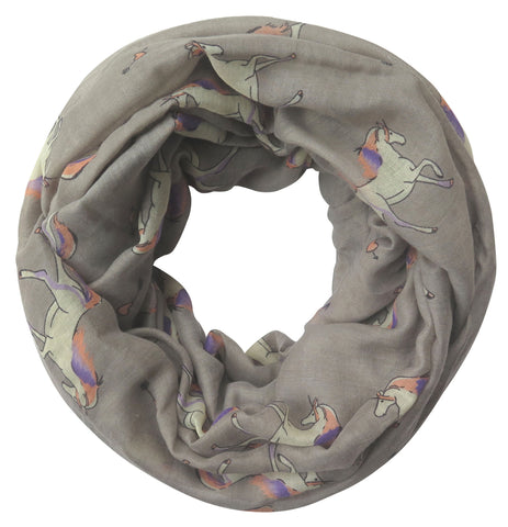 Gray Unicorn Infinity Scarf