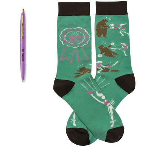 Fight Like A Girl Pen + Tougher Than The Rest Socks Gift Set Bundle