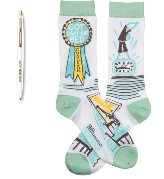 Coffee Before Adulting Pen + Got Out Of Bed Champion Award Socks Gift Set