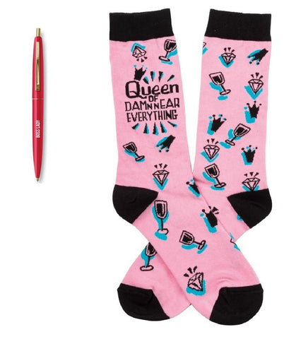 Boss Lady Pen + Queen Of Damn Near Everything Socks Gift Set