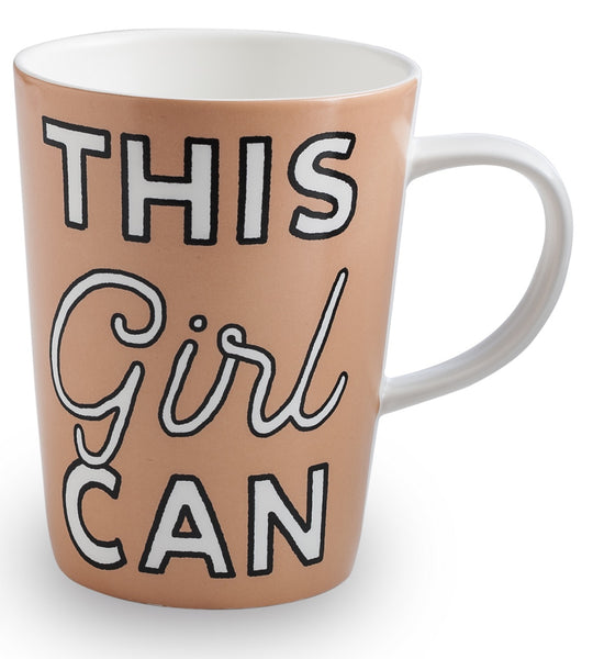 This Girl Can Women's Suffrage Timeline Coffee Mug in Peach | Historical Timeline 1848-1920 Pictured on Reverse Side | 14 oz. | Gift Box