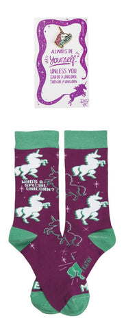 Be A Unicorn Enamel Pin + Who's A Special Unicorn? - Me! Socks Gift Set
