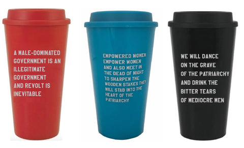 Set of 3 Exclusive GetBullish Feminist Travel Coffee Mugs