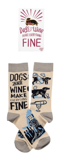 Dogs And Wine Make Everything Fine Enamel Pin and Socks Gift Set Bundle