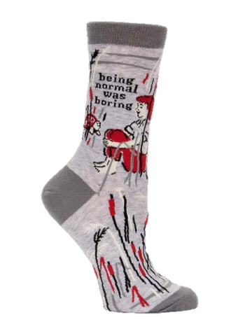 Being Normal Was Boring Women's Crew Socks in Gray