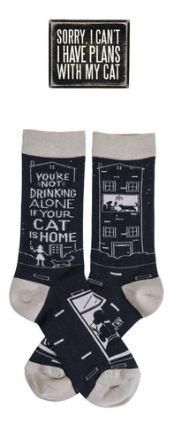 I Have Plans With My Cat Box Sign + You're Not Drinking Alone If Your Cat Is Home Socks Gift Set Bundle
