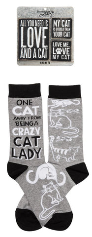 Cat Magnet Set + One Cat Away Socks Gift Set Bundle