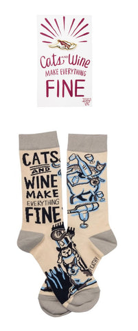 Cats And Wine Make Everything Fine Enamel Pin and Socks Gift Set Bundle