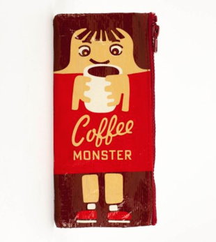 Coffee Monster Recycled Material Cute/Cool/Best Zipper Pencil Case/Pouch/Holder/Pen Bag/Holder