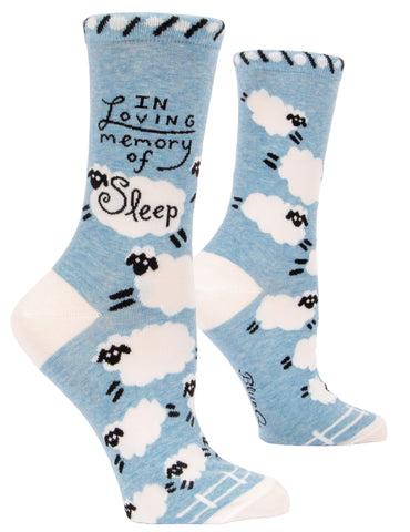 In Loving Memory Of Sleep Women's Crew Socks, Hipster/Nerdy/Geeky/Trendy, Pink Funny Novelty Socks with Cool Design, Bold/Crazy/Unique Quirky Dress Socks