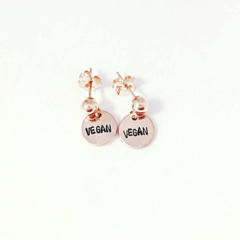 Rose Gold Vegan Dangle Earrings