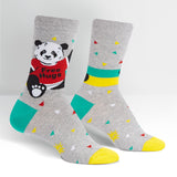 Panda Bear Hug Women's Crew Socks in Grey with Confetti