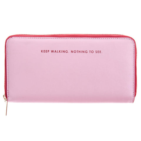 Keep Walking, Nothing To See Pink and Red Zip-Around Wallet
